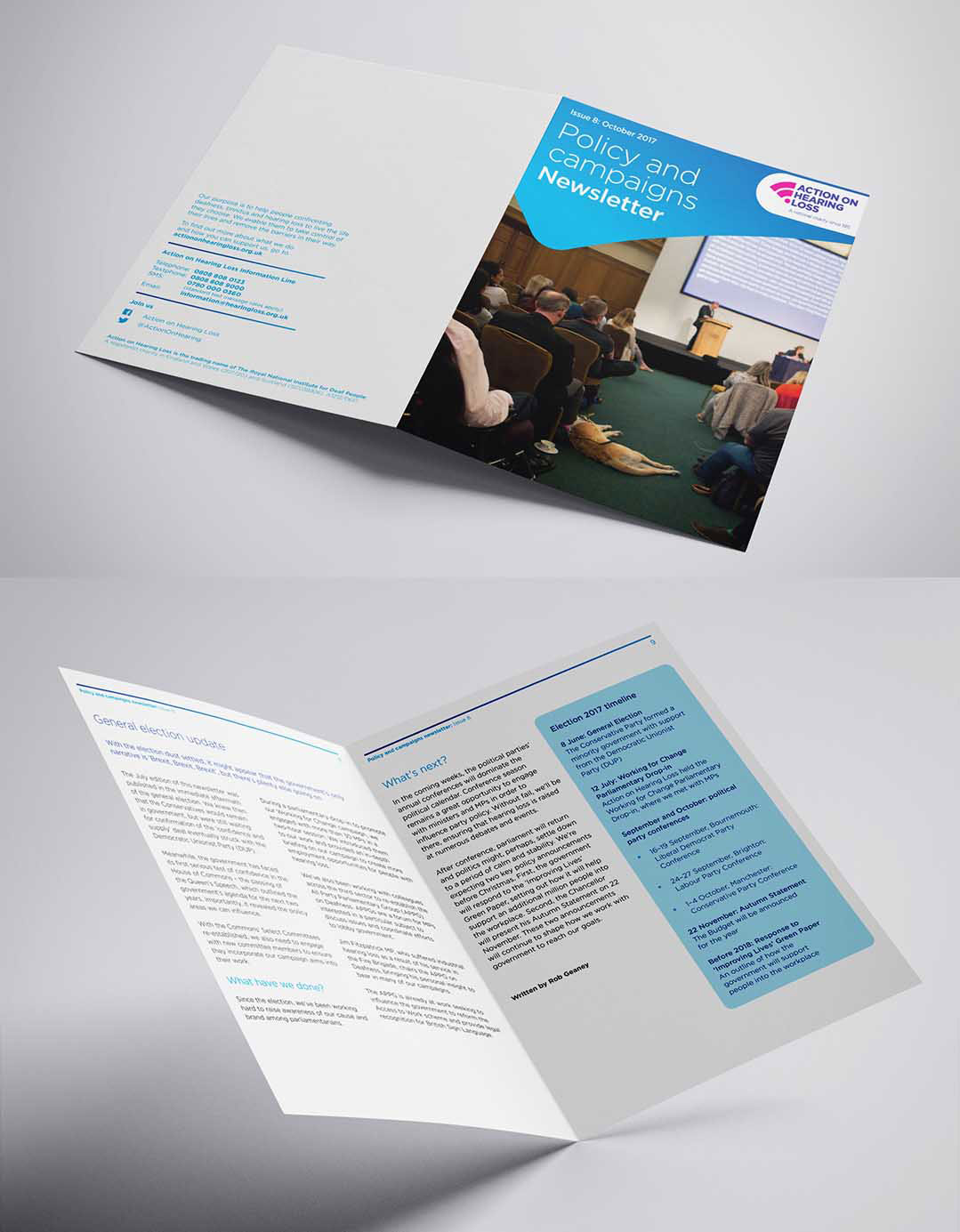 brochure design for action on hearing loss by pyrus services