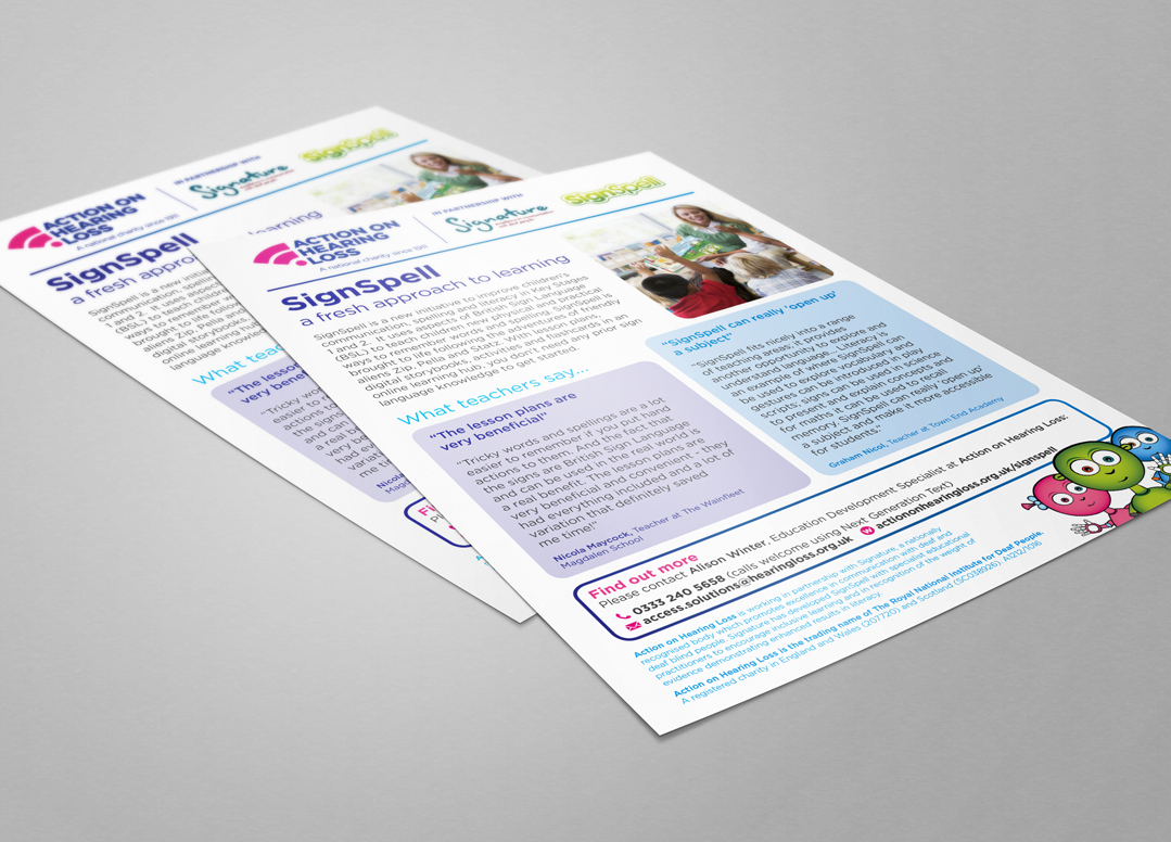 leaflet design for action on hearing loss by pyrus services